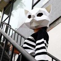 3D животного маска «кошка» DIY творческий ручной работы Вечерние бумажная маска матрица голова для косплея маска для вечеринки реквизит для с...