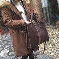 women bag 2016 new style large bag handbag black/ brown shoulder bag messenger bag  vintage pure color PU leather handbag