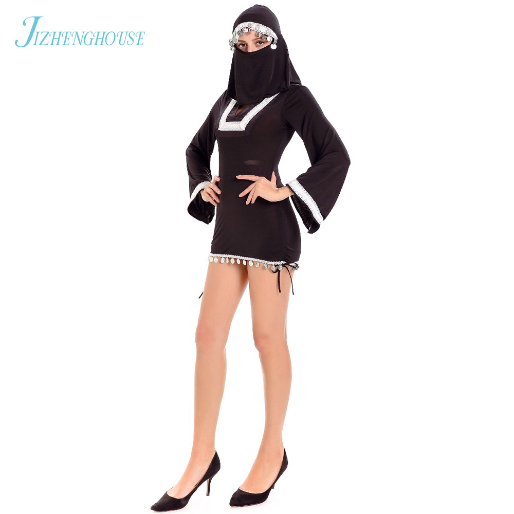 JIZHENGHOUSE Sexy Black Dress Costume With Muslim Scarf Party Novelty Halloween Womens Costume