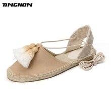 TINGHON New Summer Women Espadrilles Ankle Strap Platform Sandals Tassels Fringe Lace up Flat 35-40