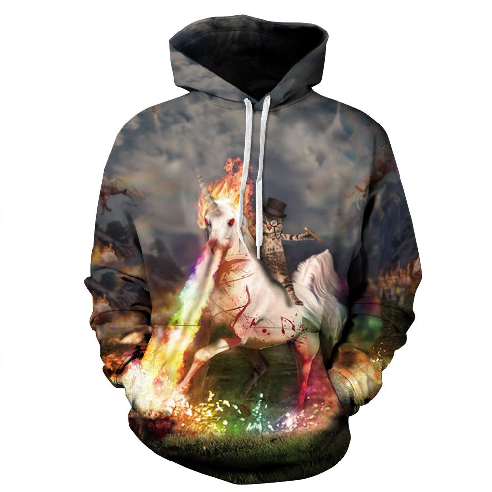 Unicorn 3D Print Hoodies Women Men Long Sleeve Pullover Sweatshirts Horse Coats Tracksuit Harajuku Sudaderas Mujer