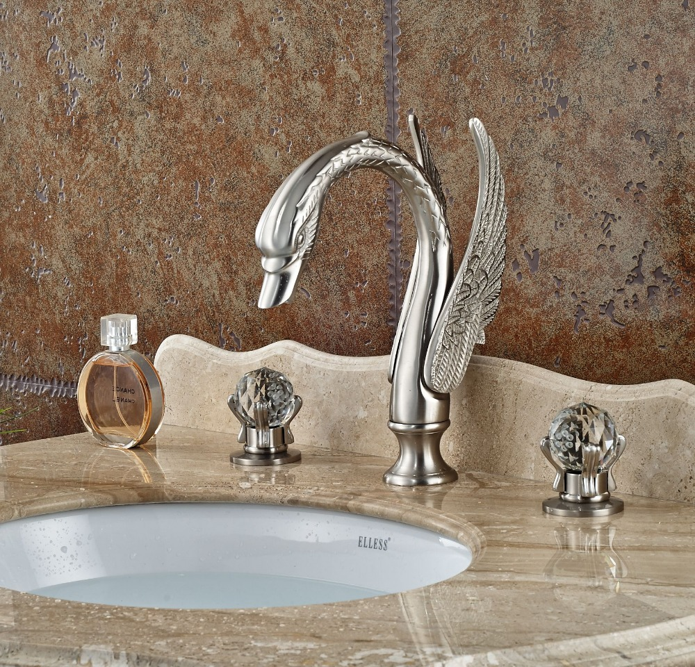 Widespread Brushed Nickle Basin Faucet Swan Spout Mixer Tap Double Handles
