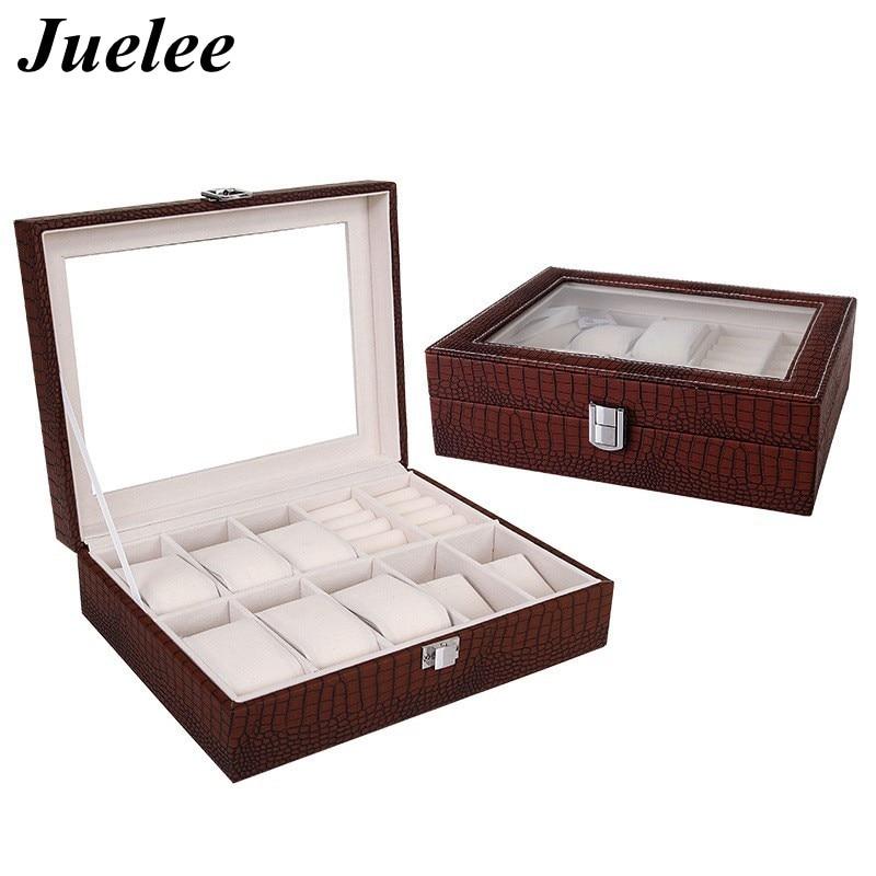 Juelee 10 Slot Crocodile Grain Pattern Watch Jewelry Box Necklace