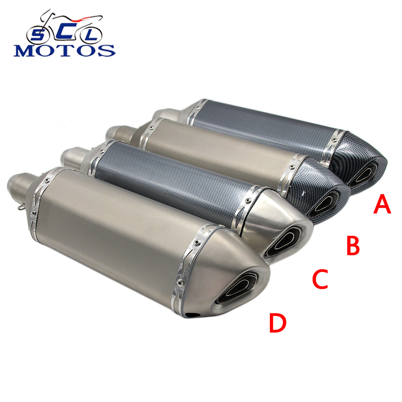 Sclmotos- 460mm Length Motorcycle Scooter ATV Akrapovic Exhaust Muffler Pipe Escape Moto with DB Killer Racing MT07 MT09 TMAX530