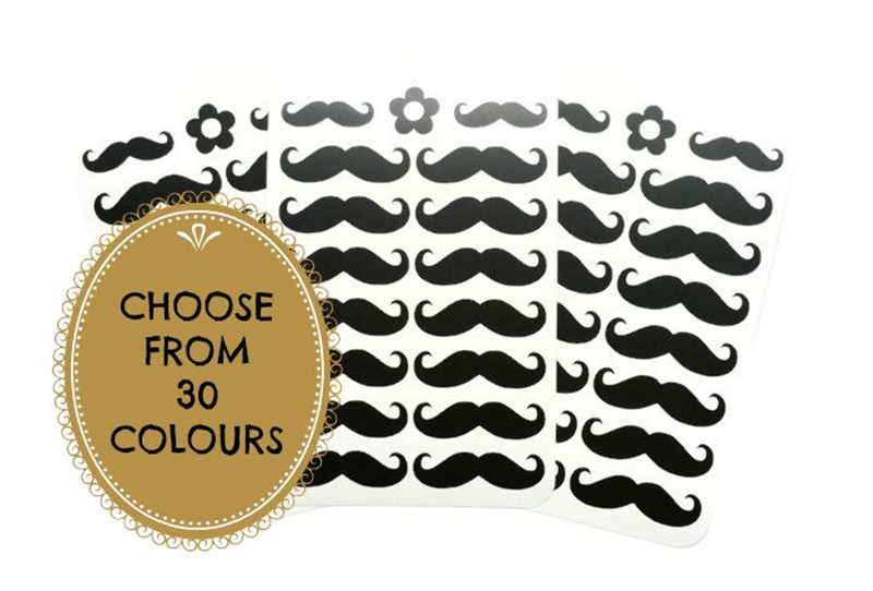 48 Moustache Vinyl Decal Stickers Party Decorations Party Supplies Moustache Cup Stickers Envelope Seals Baby Shower T180323