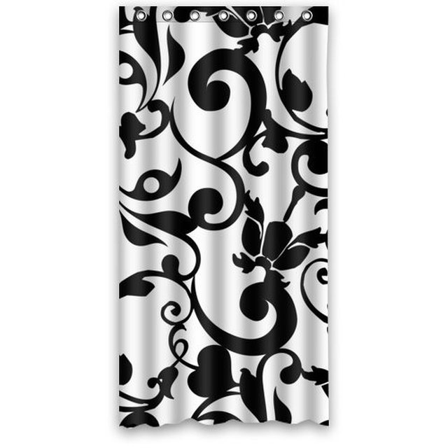 36w72h Inch Waterproof Bath Fabric Shower Curtain Black And White Damask Pattern Classic Vintage French Floral Swirls Design