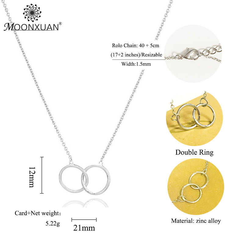 Karma คู่-Linked แหวนวงกลมทอง Sliver Choker สร้อยคอสร้อยคอผู้หญิง Kolye Collares De Moda 2019 เครื่องประดับ Colar Collier