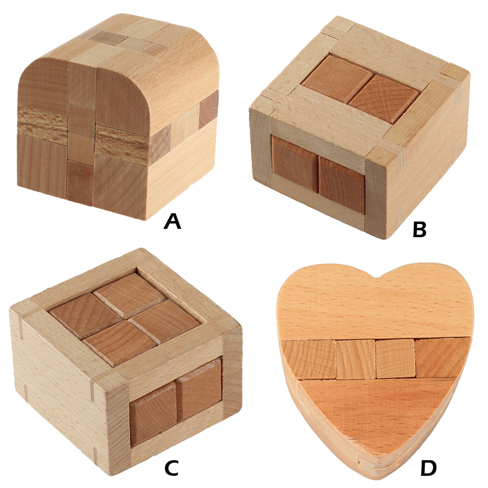Wooden Intelligence Toy Chinese Brain Teaser Game 3D IQ Puzzle For Kids Children