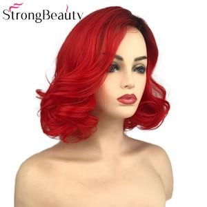 Image 3 - StrongBeauty قصيرة الأحمر الباروكات الجسم موجة شعر مستعار اصطناعي المرأة سيدة الحرارة مقاومة الشعر