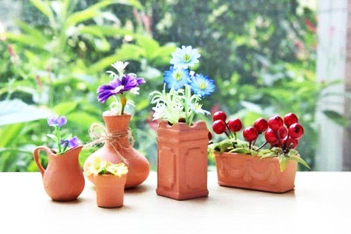 2017 Dollhouse Miniature Mini Terra Cotta Flowerpot Rural