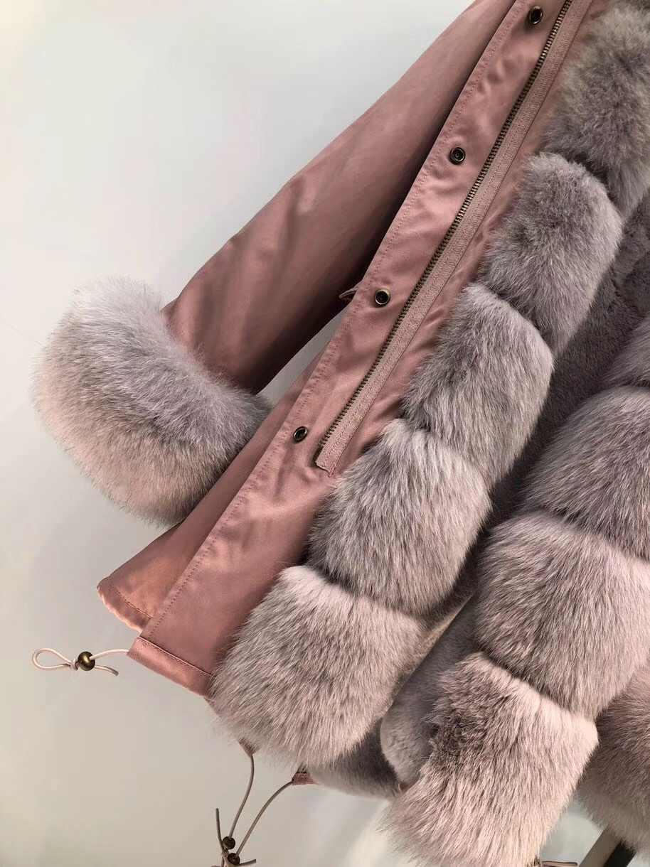 Frauen echtpelz parka winter warme natürliche große fuchs pelz mantel mit echt rex kaninchen pelz liner mantel winter jacke