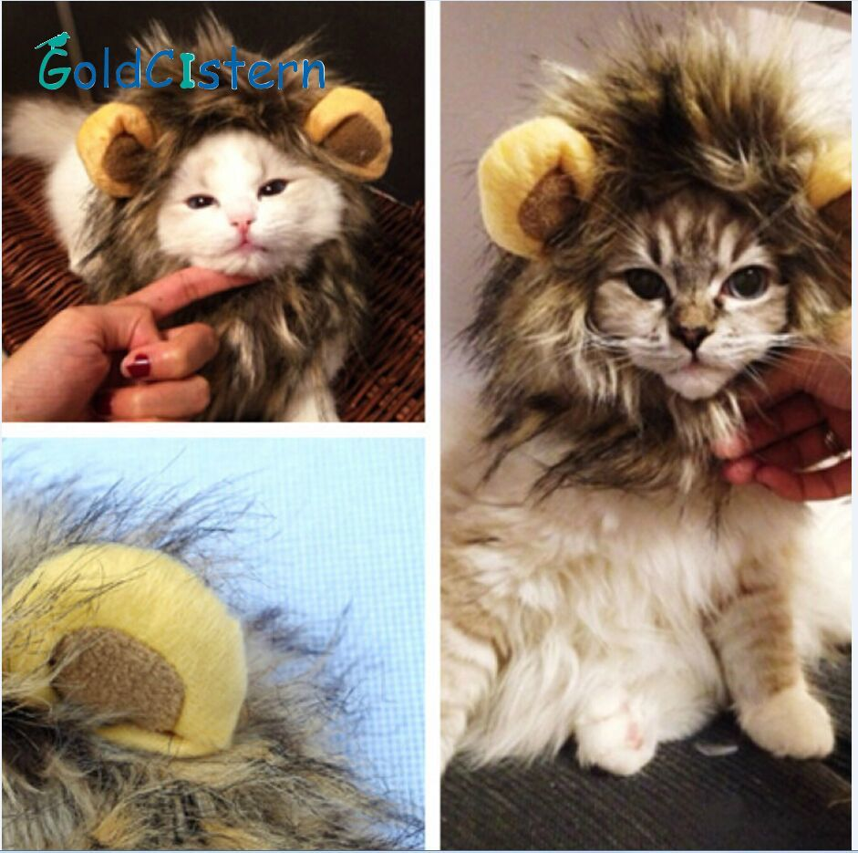 Funny Cute Pet Costume Cosplay Lion Mane Wig Cap Hat For Cat Halloween Xmas Clothes Fancy Dress With Ears Autumn Soft