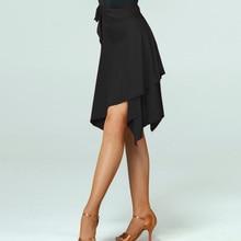 Юбка для латинских танцев, красный/черный, асимметричная юбка, ча-ча/Румба/Самба/Танго, платья для занятий танцами/Одежда для танцев
