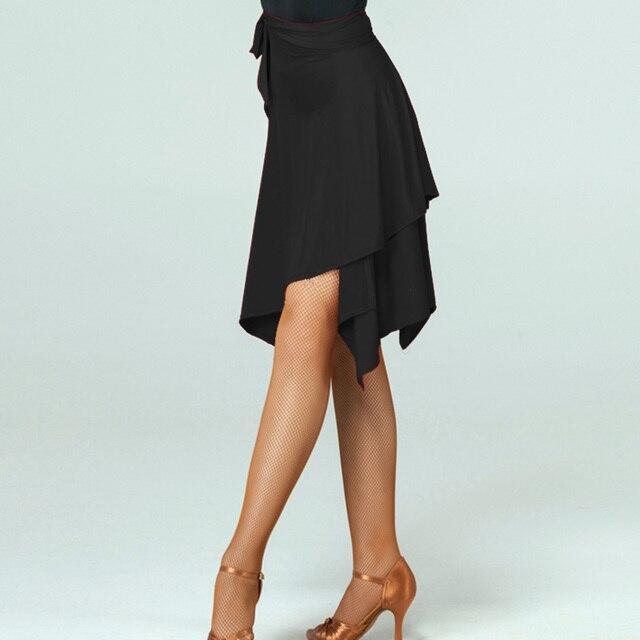 Saia de dança latina vermelha/preta irregular, saia cha/rumba/samba/tango vestidos para prática de dança/performamnce dancewear