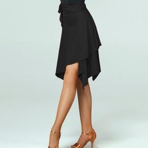Image 1 - Spódnica do tańca latynoskiego czerwona/czarna nieregularna spódnica Cha Cha/Rumba/Samba/Tango sukienki do tańca praktyka/wydajność Dancewear