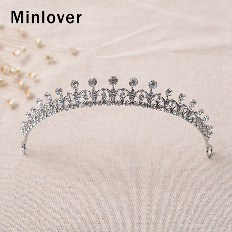 Minlover Gorgeous Silver Color Rhinestone Bridal Tiaras Crowns for Women Headbands Wedding Hair Accessories Hair Ornaments HG168 in Hair Jewelry from Jewelry Accessories