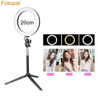 Dimmable Mini LED Self Ring Light kit for iphone Make Up Youtube Phone Photo Studio Live Lamp Video Live with Usb Stick Tripod