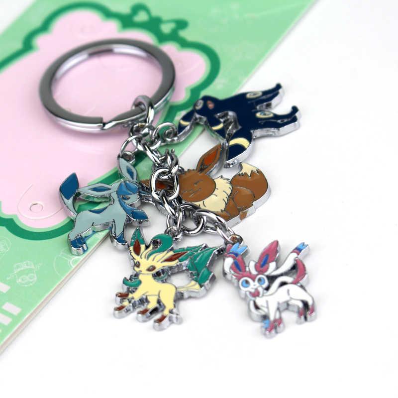Anime Pokemon Monstro de Bolso Chaveiro Glaceon Leafeon Umbreon Eevee Sylveon Unisex Chaveiro Pingente para Os Fãs Presente Colecionáveis