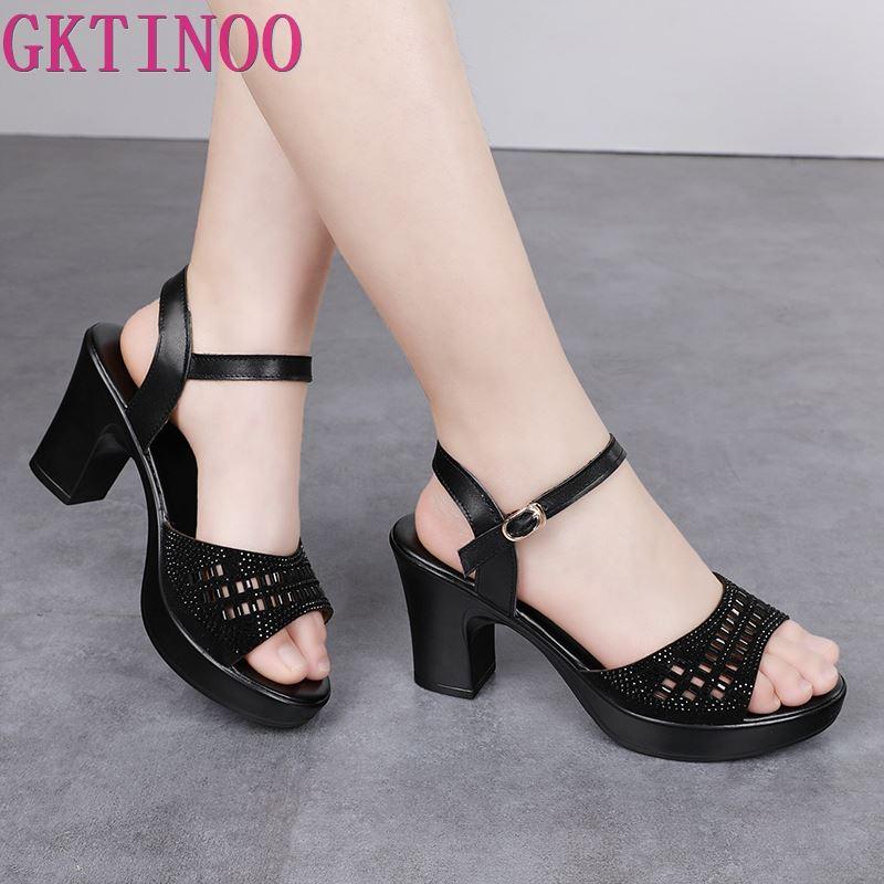 GKTINOO 8cm High Heels Sandals Women Genuine Leather Shoes Hollow Sandals Rhinestone Platform 2019 New Open Toe Women Sandals