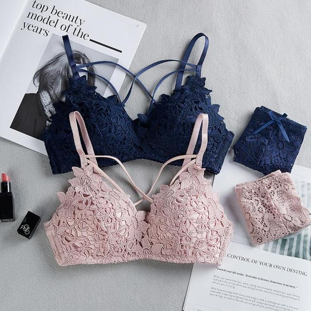 Novas Mulheres Fio Grátis Bar Conjunto Underwear Brassiere Lingerie Sexy Conjunto Sutiã de Renda Bra Breve