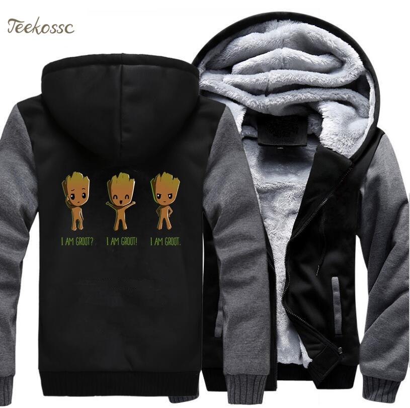I Am Groot Hoodie Men Baby Groot Hooded Sweatshirt Coat 2018 Winter Warm Fleece Thick Zipper Funny Super Hero Cool Jacket Homme