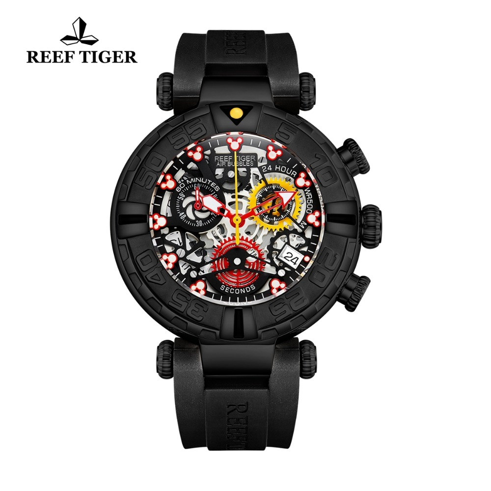 Reef Tiger/RT Luxury Brand Sport Watch Men Skeleton Quartz Watches Chronograph Rubber Strap Watch Montre Homme RGA3059-S 2018 new arrival boy suits england style boys blazer long sleeve plaid for kids clothes