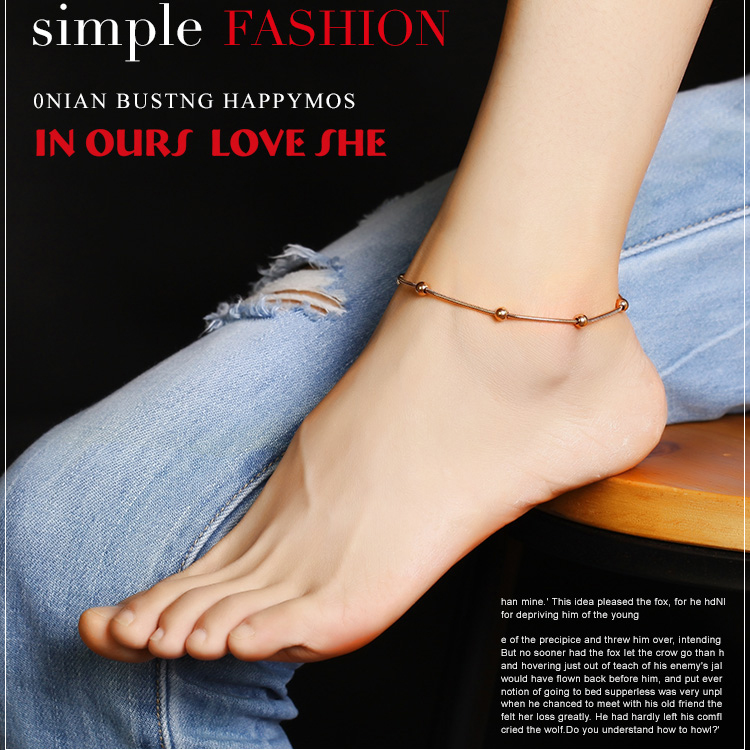 Smooth Steel Beads Woman Fine Anklet Fashion Jewelry Titanium Steel Rose Gold Color Birthday Gift Girls Anklet holiday Gift