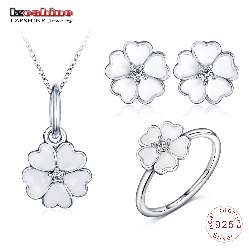 LZESHINE New 925 Sterling Silver Fashion Flower Jewelry Sets For Women White Enamel Heart Petals Pendant/Ring/Earrings 3pc Sets