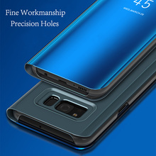 Mirror Flip Case For iPhone 6 6s 7 8 Plus X Phone Cases / Galaxy Note 8 S8 Edge Slim Clear View Smart Cover
