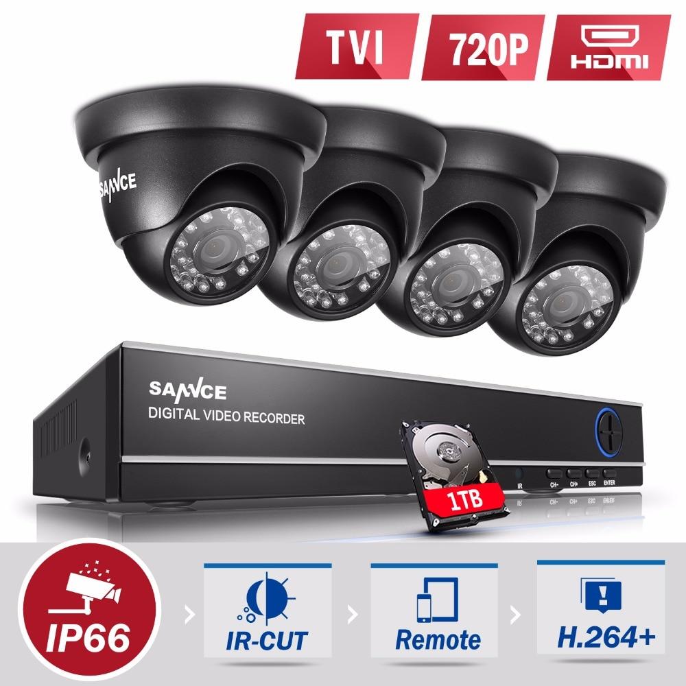 SANNCE 4CH 1080N HD font b CCTV b font System 4pcs 720P Outdoor IR Security Camera