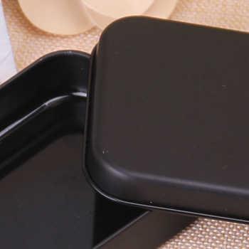 100 ชิ้น Black Black กล่องเก็บของโลหะ Mini ของขวัญดีบุกกล่องขนาดเล็กสำหรับเหรียญเงิน Candy ปุ่มเล่นกล่องบัตร