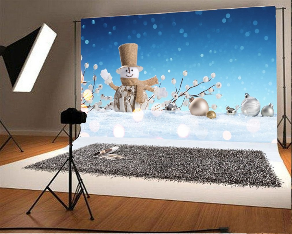 Photography Backdrop Christmas Snowman with Hat Balls Branch Bokeh Sequins Snowing Blue Sky Winter Photo Background
