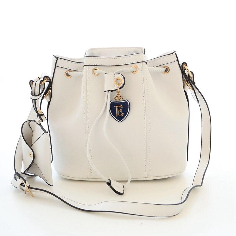 Nuevo Bolso del Cubo del Lazo Femenino PU Mujeres de Cuero Messenger Bags Bolsas