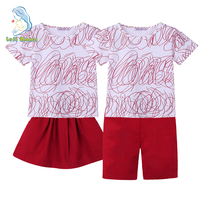 Family Clothing Set Twins Brother Sister Graffiti T Shirt Short Skirt 2Pcs Set Family Look Clothes