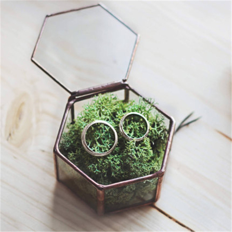 Mini Hexagon Geometric Wedding Ring Box Ring Bearer Box Tabletop Succulent Plants Planter Wedding Decoration3