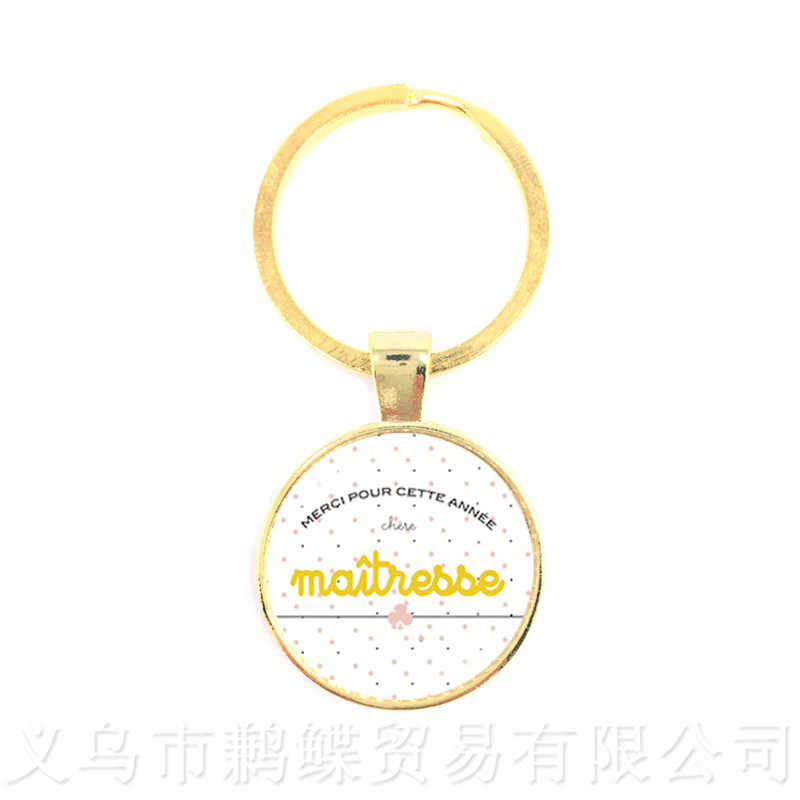 Teacher's Day Gift Keychain Merci Maitresse 25MM Glass Cabochon Trendy  Jewelry  Pendant Keyring
