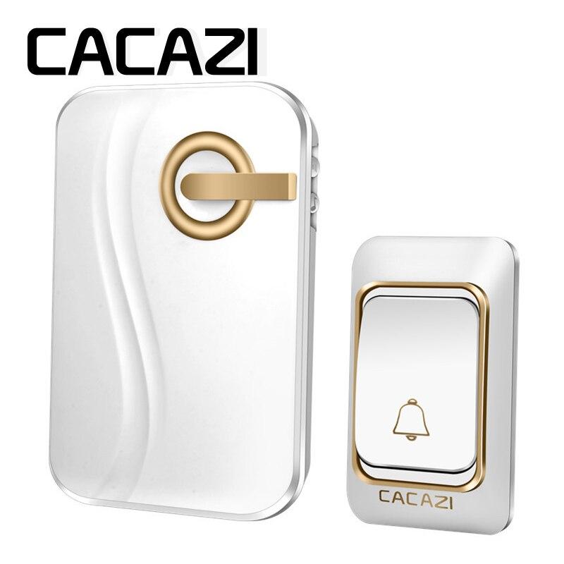 CACAZI Sans Fil Sonnette DC batterie-exploité 200 m à distance étanche 1 émetteur 1 récepteur 36 anneaux carillon de porte Sans Fil cloche