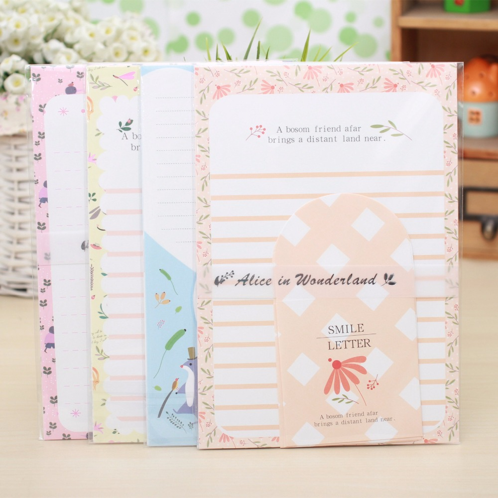 9pcs/Set 3 Envelopes + 6 Sheets Letter Paper Alice In Wonderland Cartoon Animal Envelope For Gift Korean Stationery