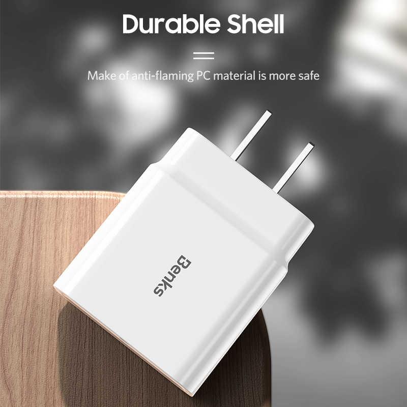 Benks 18W USB-C PD3.0 Củ Sạc Nhanh Quick Charge 3.0 Loại C Tường Điện cho iPhone Huawei Samsung QC 3.0 Sạc Điện Thoại