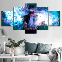 5 Piece Dabi Blue Flames My Hero Academia Anime Poster Drawing Art Canvas Paintings for Home Decor 1