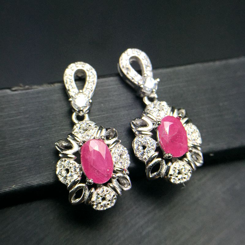 Almei Natural Ruby Earrings for Women, 925 Sterling Silver, 4*6mm*2 Pcs Gemstone Wedding Engagement Party Jewelry FR116