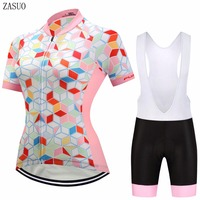 ZASUO 2017 Brand Women Cube Style Bicycle Short Sleeve Jersey Maillot Ropa Ciclismo Quick Dry Cycling