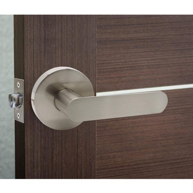 Probrico Stainless Steel Privacy/Passage Interior Door Lever Door Lock Set Brushed Nickel Bathroom Door Handle Bedroom Door Knob