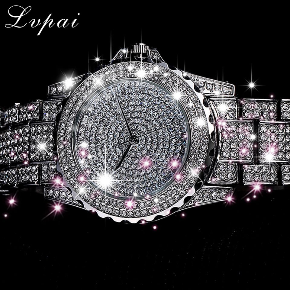 Lvpai 2019 New Arrive Silver Luxury Women Dress Watch Rhinestone Ceramic Crystal Quartz Watches Magic Women Wrist Watch Female