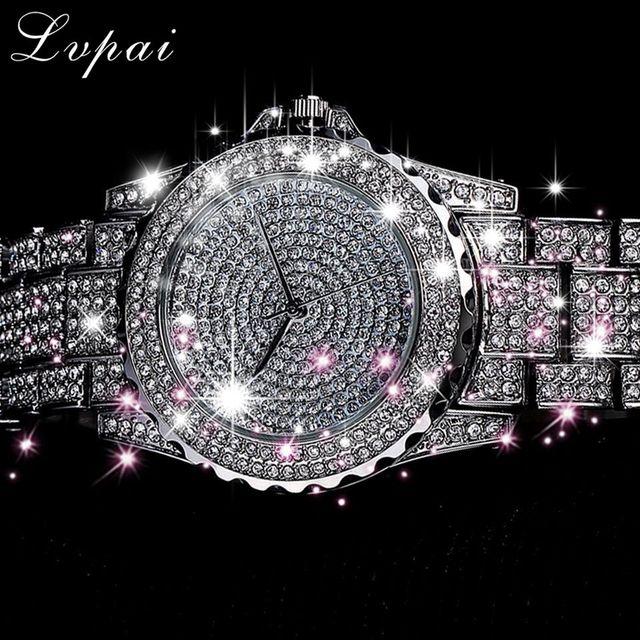 Lvpai Top Brand Silver Luxury Women Dress Watch Rhinestone Ceramic Crystal Quart