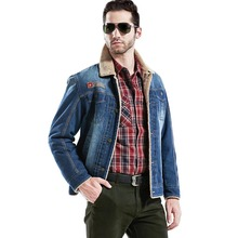 Free shipping Winter Woolen Man Jeans Denim Jacket Turn-down Collor Single Breasted Thicken Warming Men Fashion Outerwear 140hfx