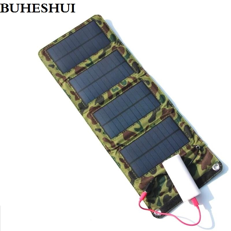 BUHESHUI Portable 7W Solar Charger for Mobile Phones Power Bank Battery Charger USB Output Solar Panel
