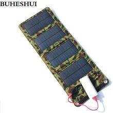 BUHESHUI Cep Telefonları için Taşınabilir 7 W Solar Şarj/Güç Bankası Pil Şarj Cihazı USB Çıkışı Güneş Paneli Şarj Ücretsiz nakli...