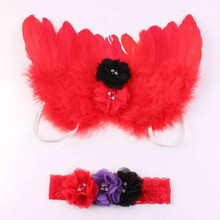 2018 Hot Elegant Newborn Baby Kid Feather Lace Diamond Headband and Angel Wings Photo Props