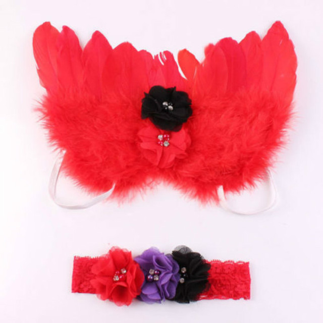 2018 Hot Elegant Newborn Baby Kid Feather Lace Diamond Headband and Angel Wings Photo Props